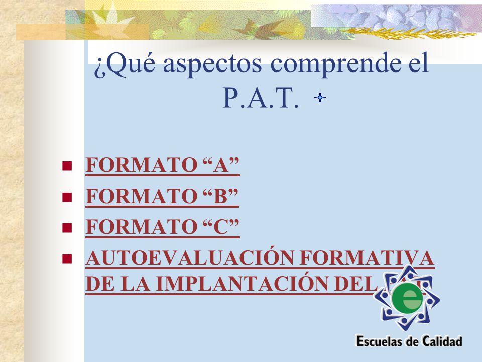 ¿Qué aspectos comprende el P.A.T. FORMATO A B C AUTOEVALUACIÓN FORMATIVA DE LA IMPLANTACIÓN DEL PAT