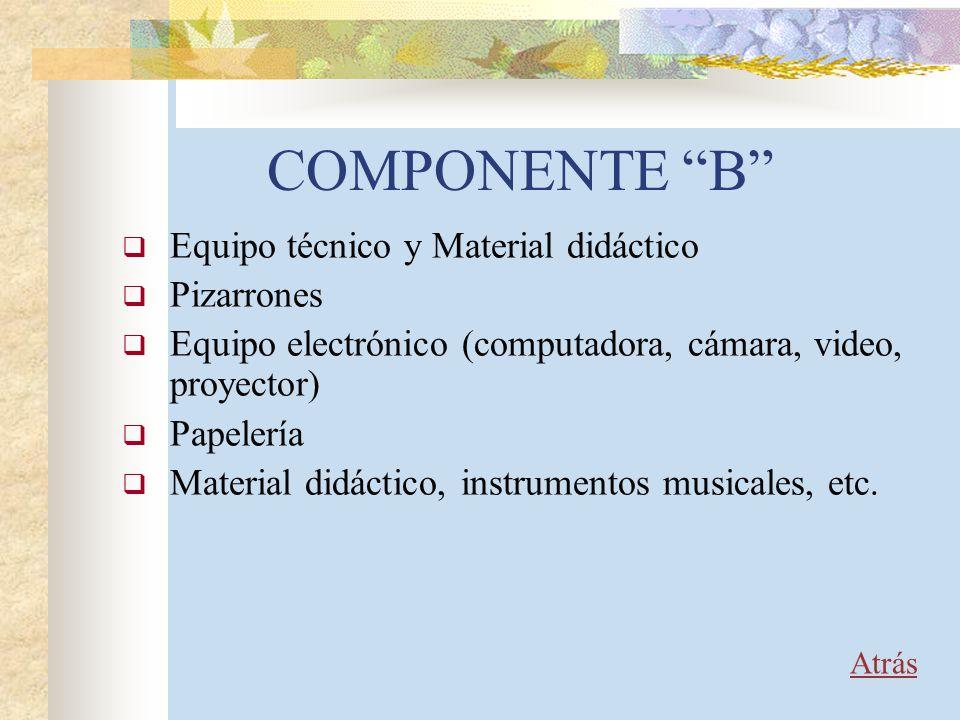 COMPONENTE B Equipo técnico y Material didáctico Pizarrones Equipo electrónico (computadora, cámara, video, proyector) Papelería Material didáctico, i