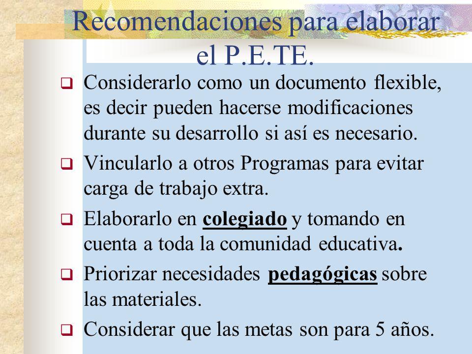 Recomendaciones para elaborar el P.E.TE. Considerarlo como un documento flexible, es decir pueden hacerse modificaciones durante su desarrollo si así