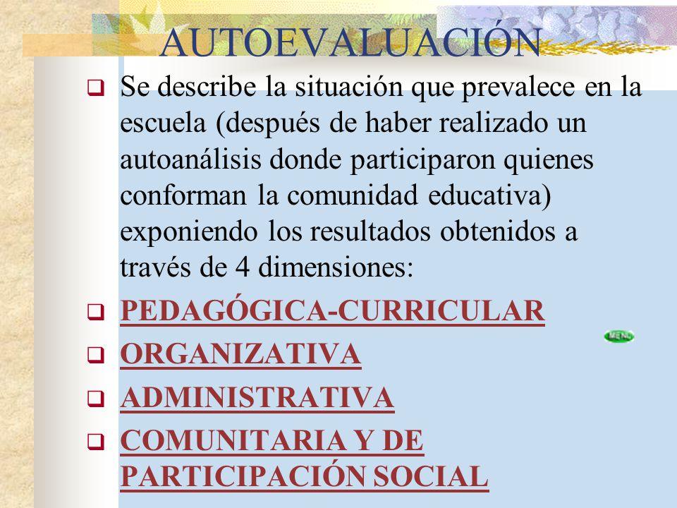 AUTOEVALUACIÓN Se describe la situación que prevalece en la escuela (después de haber realizado un autoanálisis donde participaron quienes conforman l