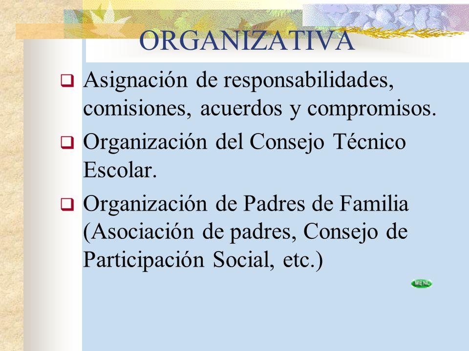 ORGANIZATIVA Asignación de responsabilidades, comisiones, acuerdos y compromisos. Organización del Consejo Técnico Escolar. Organización de Padres de