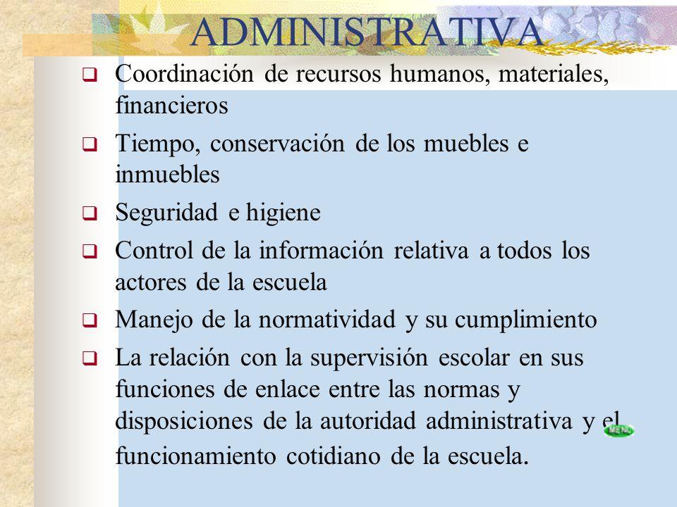 ADMINISTRATIVA Coordinación de recursos humanos, materiales, financieros Tiempo, conservación de los muebles e inmuebles Seguridad e higiene Control d