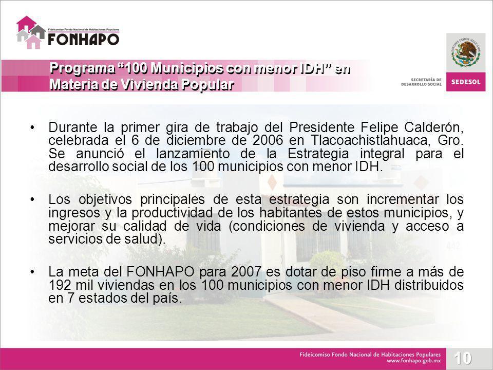 Durante la primer gira de trabajo del Presidente Felipe Calderón, celebrada el 6 de diciembre de 2006 en Tlacoachistlahuaca, Gro. Se anunció el lanzam