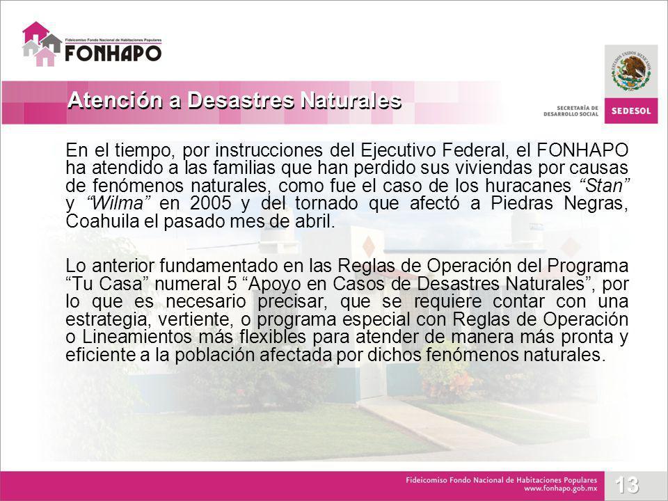 En el tiempo, por instrucciones del Ejecutivo Federal, el FONHAPO ha atendido a las familias que han perdido sus viviendas por causas de fenómenos nat