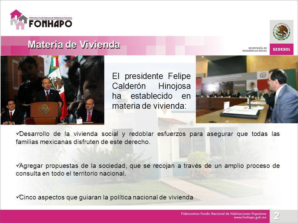 Desarrollo de la vivienda social y redoblar esfuerzos para asegurar que todas las familias mexicanas disfruten de este derecho. Agregar propuestas de