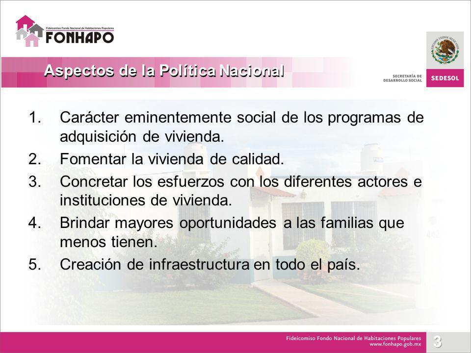 1.Carácter eminentemente social de los programas de adquisición de vivienda. 2.Fomentar la vivienda de calidad. 3.Concretar los esfuerzos con los dife
