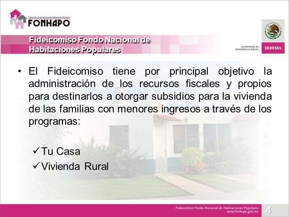 El Fideicomiso tiene por principal objetivo la administración de los recursos fiscales y propios para destinarlos a otorgar subsidios para la vivienda
