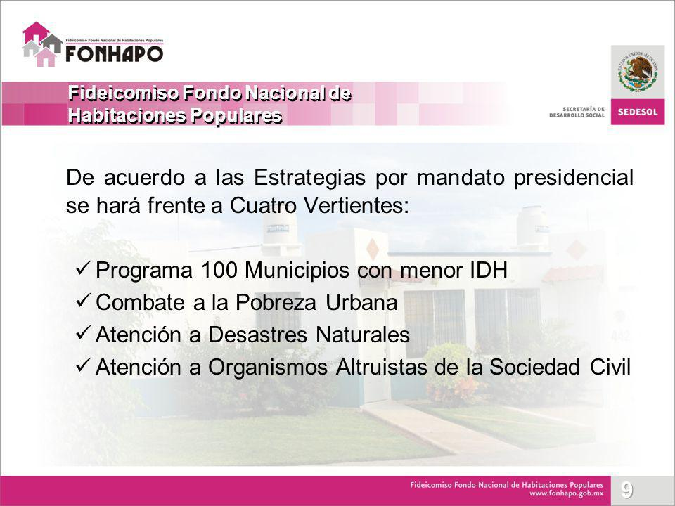 De acuerdo a las Estrategias por mandato presidencial se hará frente a Cuatro Vertientes: Programa 100 Municipios con menor IDH Combate a la Pobreza U