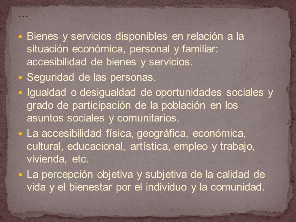 Bienes y servicios disponibles en relación a la situación económica, personal y familiar: accesibilidad de bienes y servicios.