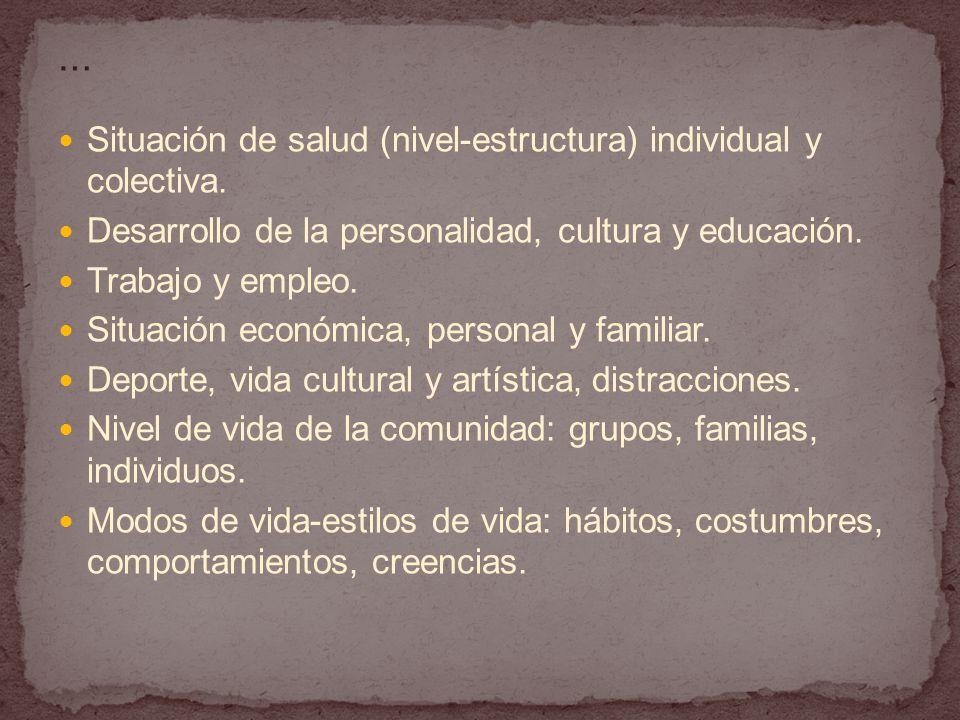 Situación de salud (nivel-estructura) individual y colectiva.