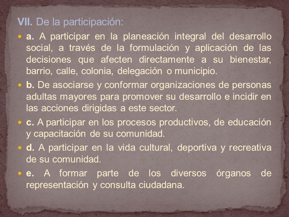 VII.De la participación: a.