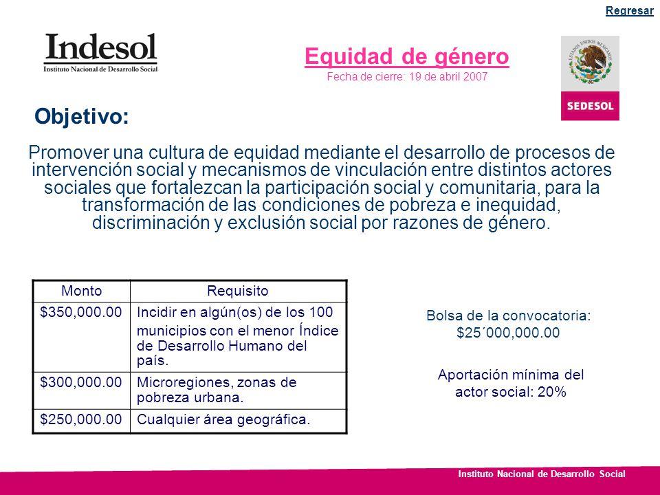 Instituto Nacional de Desarrollo Social Equidad de género Fecha de cierre: 19 de abril 2007 Promover una cultura de equidad mediante el desarrollo de