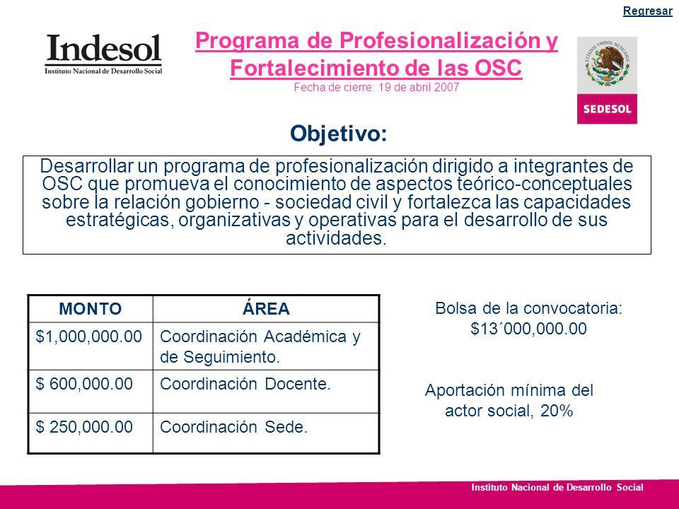 Instituto Nacional de Desarrollo Social Programa de Profesionalización y Fortalecimiento de las OSC Fecha de cierre: 19 de abril 2007 Desarrollar un p