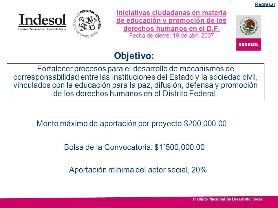 Instituto Nacional de Desarrollo Social Apoyar la ejecución de proyectos de interés social, bienestar colectivo y desarrollo humano, en un marco de corresponsabilidad y coinversión con el gobierno.