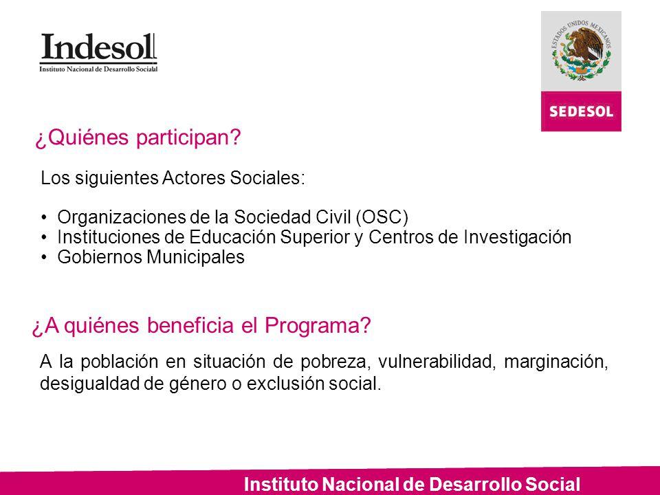 Instituto Nacional de Desarrollo Social ¿Cómo participar.
