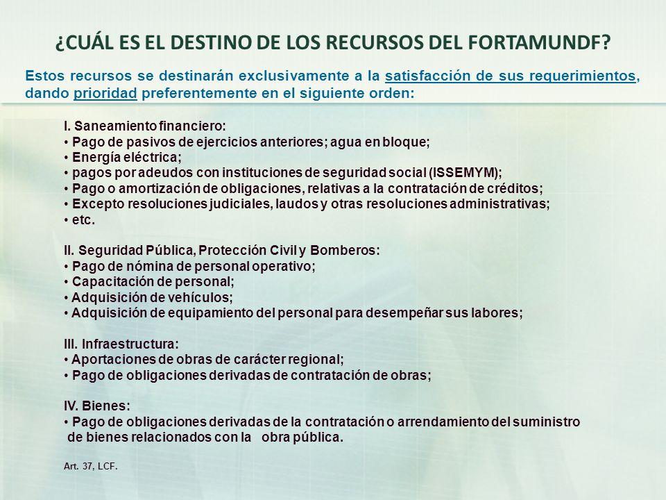 ¿CUÁL ES EL DESTINO DE LOS RECURSOS DEL FORTAMUNDF.