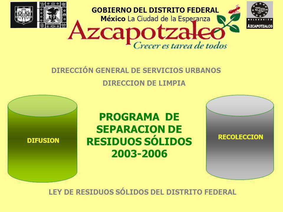 ANTECEDENTES El 14 de junio del 2004 la Jefa Delegacional en Azcapotzalco Laura Velázquez Alzúa, dio el banderazo de salida para el programa piloto de recolección separada de residuos sólidos, en tres rutas de recolección domiciliaria de dos colonias, el edificio Delegacional, la UAM-Azcapotzalco y dos escuelas primarias.