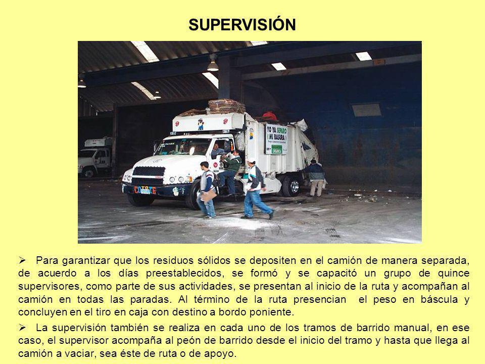 SUPERVISIÓN Para garantizar que los residuos sólidos se depositen en el camión de manera separada, de acuerdo a los días preestablecidos, se formó y s