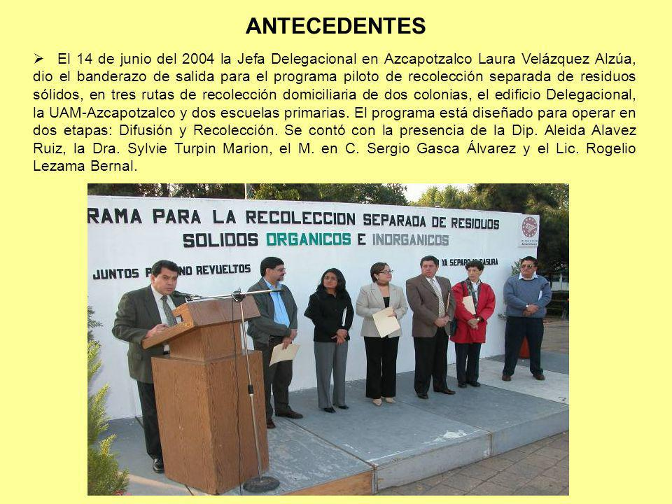 ANTECEDENTES El 14 de junio del 2004 la Jefa Delegacional en Azcapotzalco Laura Velázquez Alzúa, dio el banderazo de salida para el programa piloto de