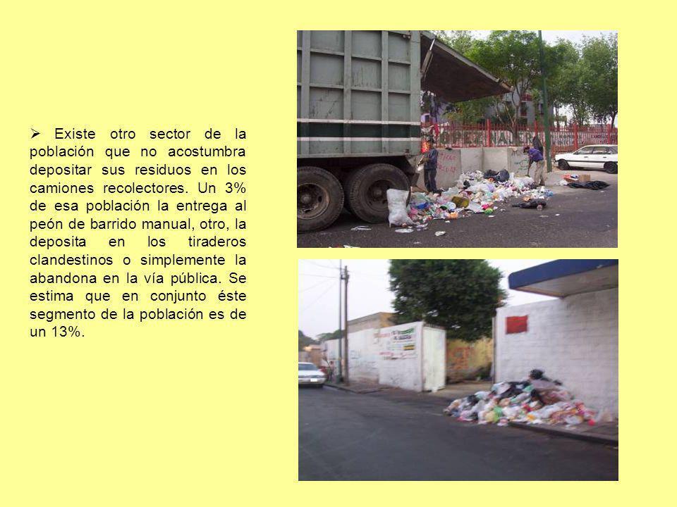 Existe otro sector de la población que no acostumbra depositar sus residuos en los camiones recolectores. Un 3% de esa población la entrega al peón de