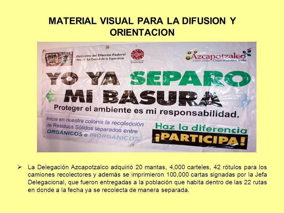 MATERIAL VISUAL PARA LA DIFUSION Y ORIENTACION La Delegación Azcapotzalco adquirió 20 mantas, 4,000 carteles, 42 rótulos para los camiones recolectore