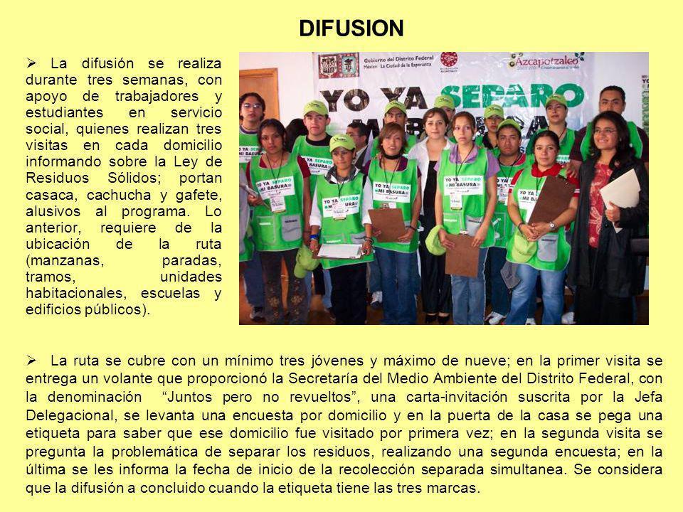 DIFUSION La difusión se realiza durante tres semanas, con apoyo de trabajadores y estudiantes en servicio social, quienes realizan tres visitas en cad