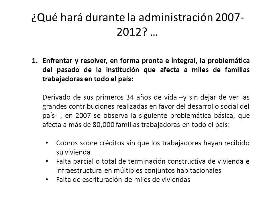 ¿Qué hará durante la administración 2007- 2012? … 1.Enfrentar y resolver, en forma pronta e integral, la problemática del pasado de la institución que