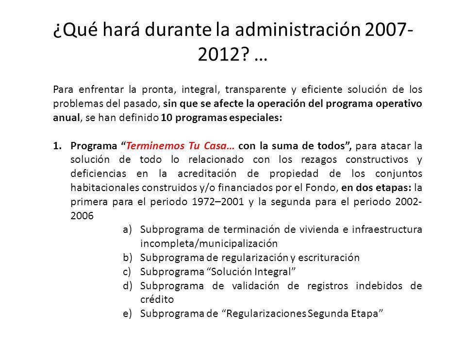 ¿Qué hará durante la administración 2007- 2012? … Para enfrentar la pronta, integral, transparente y eficiente solución de los problemas del pasado, s