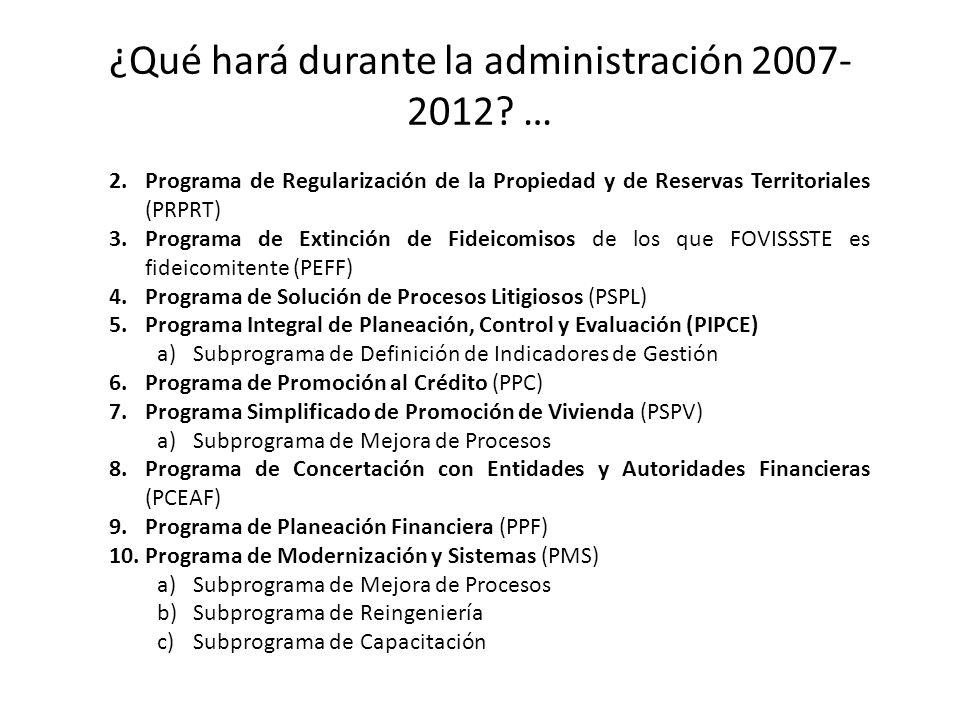¿Qué hará durante la administración 2007- 2012? … 2.Programa de Regularización de la Propiedad y de Reservas Territoriales (PRPRT) 3.Programa de Extin