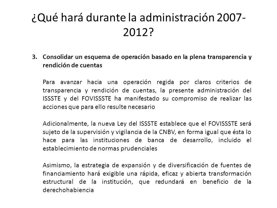 ¿Qué hará durante la administración 2007- 2012? 3.Consolidar un esquema de operación basado en la plena transparencia y rendición de cuentas Para avan