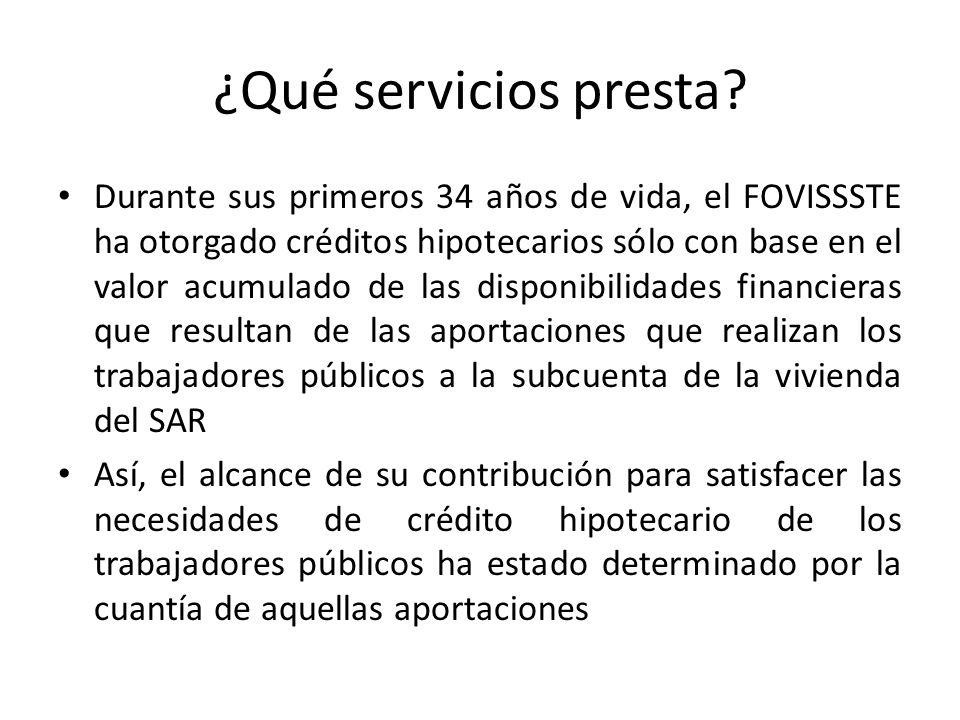 ¿Qué servicios presta? Durante sus primeros 34 años de vida, el FOVISSSTE ha otorgado créditos hipotecarios sólo con base en el valor acumulado de las