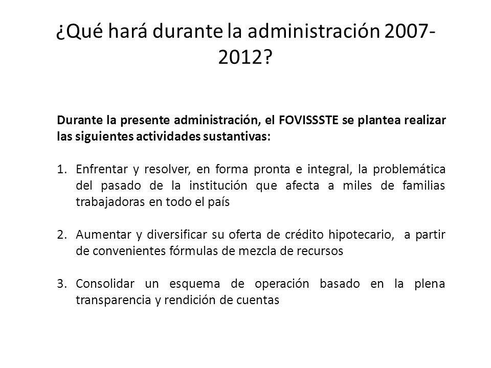 ¿Qué hará durante la administración 2007- 2012? Durante la presente administración, el FOVISSSTE se plantea realizar las siguientes actividades sustan