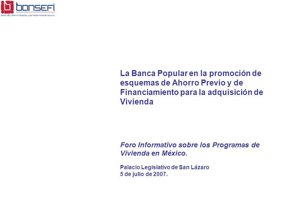 La Banca Popular en la promoción de esquemas de Ahorro Previo y de Financiamiento para la adquisición de Vivienda Foro Informativo sobre los Programas