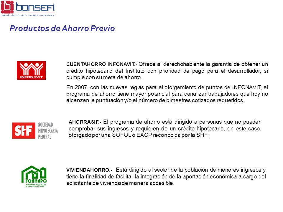 CUENTAHORRO INFONAVIT.- Ofrece al derechohabiente la garantía de obtener un crédito hipotecario del Instituto con prioridad de pago para el desarrolla