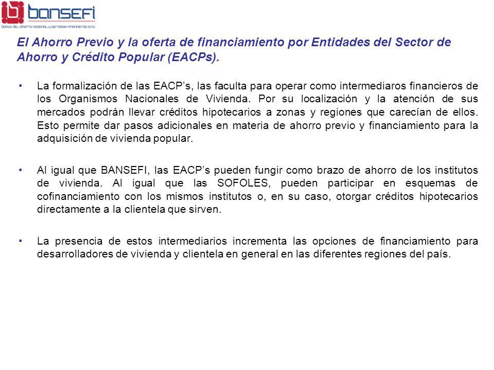 La formalización de las EACPs, las faculta para operar como intermediaros financieros de los Organismos Nacionales de Vivienda. Por su localización y