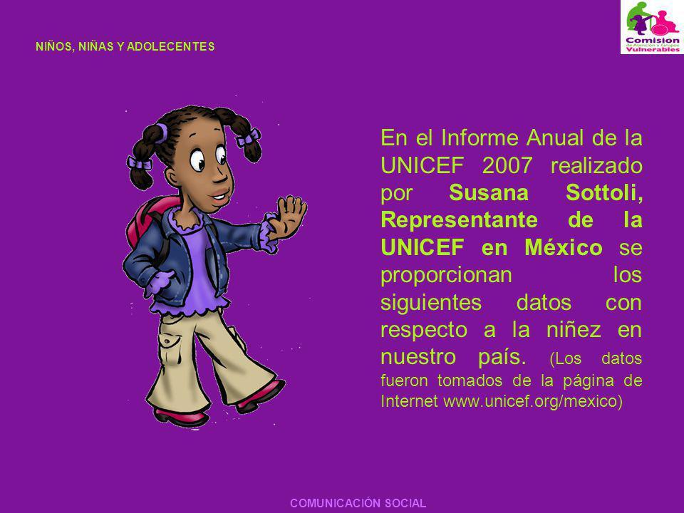 En el Informe Anual de la UNICEF 2007 realizado por Susana Sottoli, Representante de la UNICEF en México se proporcionan los siguientes datos con resp