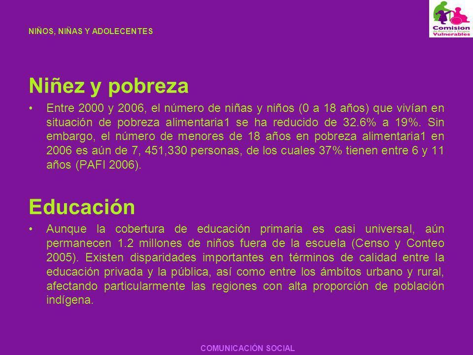 NIÑOS, NIÑAS Y ADOLECENTES Trabajo infantil Se estima que en México hay 3.3 millones de niños entre 6 y 14 años que trabajan para apoyar la economía de sus familias (INEGI 2002).