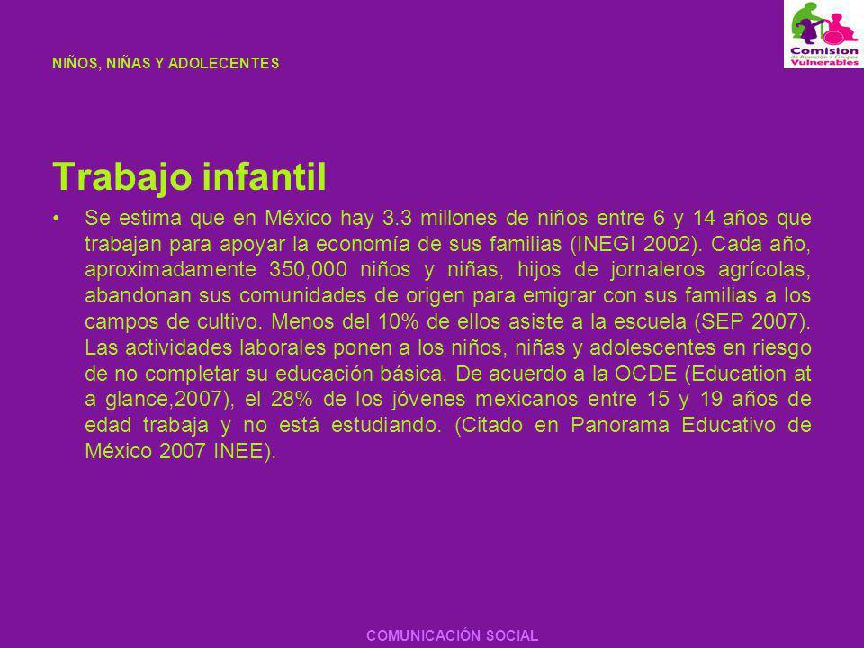NIÑOS, NIÑAS Y ADOLECENTES Trabajo infantil Se estima que en México hay 3.3 millones de niños entre 6 y 14 años que trabajan para apoyar la economía d