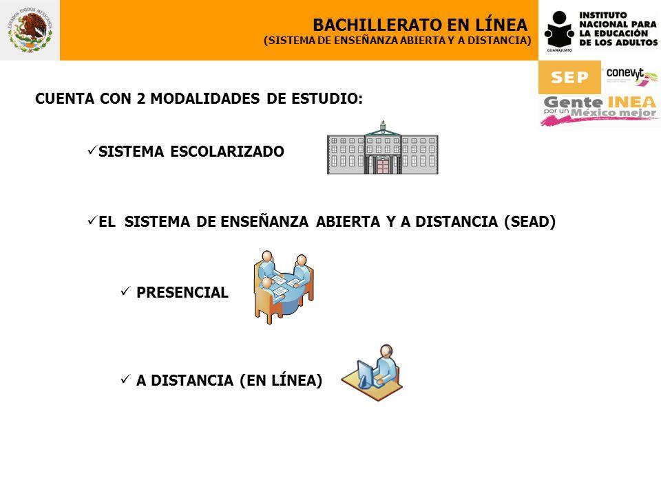 CUENTA CON 2 MODALIDADES DE ESTUDIO: SISTEMA ESCOLARIZADO EL SISTEMA DE ENSEÑANZA ABIERTA Y A DISTANCIA (SEAD) PRESENCIAL A DISTANCIA (EN LÍNEA) BACHILLERATO EN LÍNEA (SISTEMA DE ENSEÑANZA ABIERTA Y A DISTANCIA)