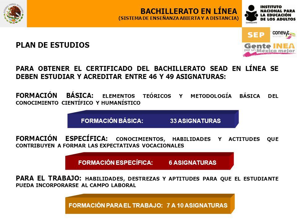 PLAN DE ESTUDIOS PARA OBTENER EL CERTIFICADO DEL BACHILLERATO SEAD EN LÍNEA SE DEBEN ESTUDIAR Y ACREDITAR ENTRE 46 Y 49 ASIGNATURAS: FORMACIÓN BÁSICA: ELEMENTOS TEÓRICOS Y METODOLOGÍA BÁSICA DEL CONOCIMIENTO CIENTÍFICO Y HUMANÍSTICO FORMACIÓN ESPECÍFICA: CONOCIMIENTOS, HABILIDADES Y ACTITUDES QUE CONTRIBUYEN A FORMAR LAS EXPECTATIVAS VOCACIONALES PARA EL TRABAJO: HABILIDADES, DESTREZAS Y APTITUDES PARA QUE EL ESTUDIANTE PUEDA INCORPORARSE AL CAMPO LABORAL BACHILLERATO EN LÍNEA (SISTEMA DE ENSEÑANZA ABIERTA Y A DISTANCIA) FORMACIÓN BÁSICA:33 ASIGNATURAS FORMACIÓN ESPECÍFICA: 6 ASIGNATURAS FORMACIÓN PARA EL TRABAJO: 7 A 10 ASIGNATURAS
