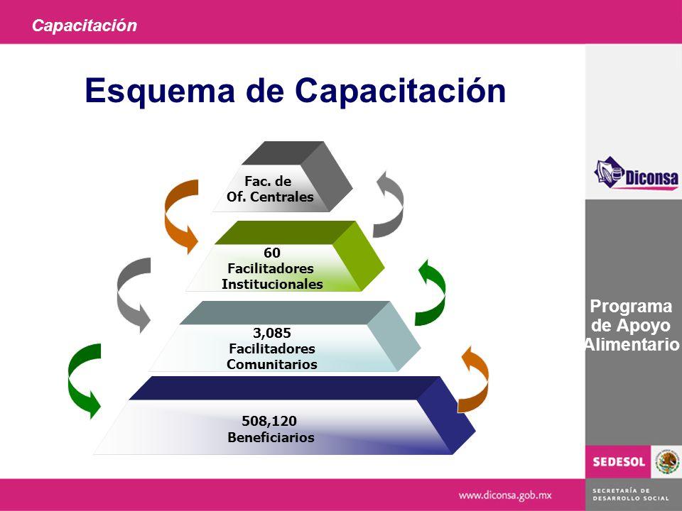 Capacitación Programa de Apoyo Alimentario Esquema de Capacitación Fac. de Of. Centrales 60 Facilitadores Institucionales 3,085 Facilitadores Comunita