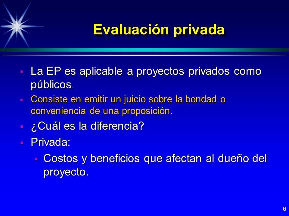 7 Evaluación privada Evaluación económica y financiera Evaluación económica y financiera Evaluación económica vs.