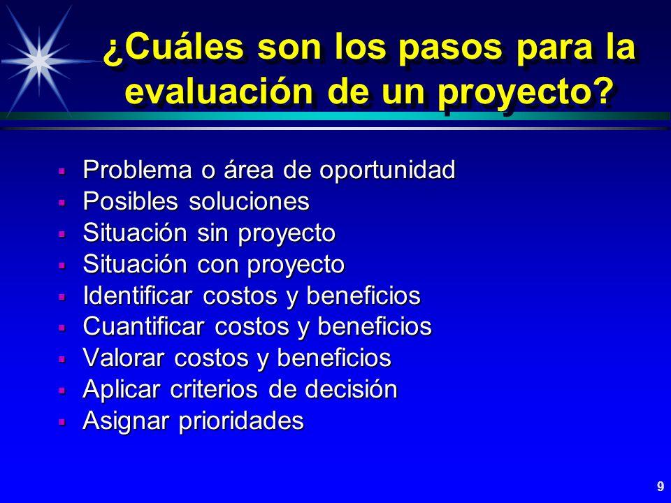 9 ¿Cuáles son los pasos para la evaluación de un proyecto.