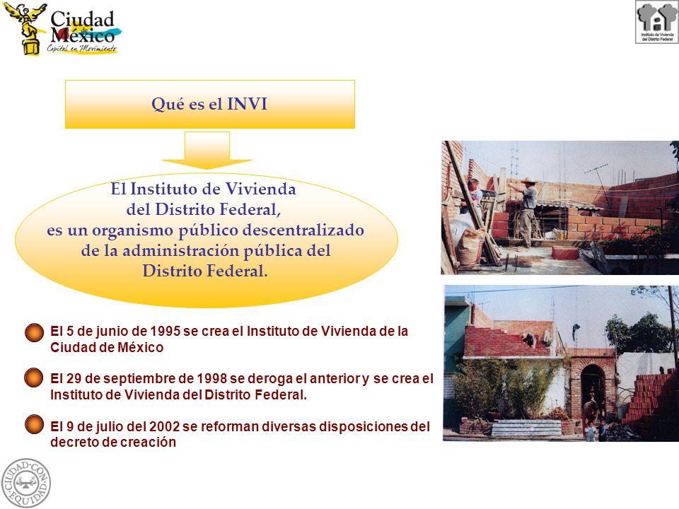 El Instituto de Vivienda del Distrito Federal, es un organismo público descentralizado de la administración pública del Distrito Federal. Qué es el IN
