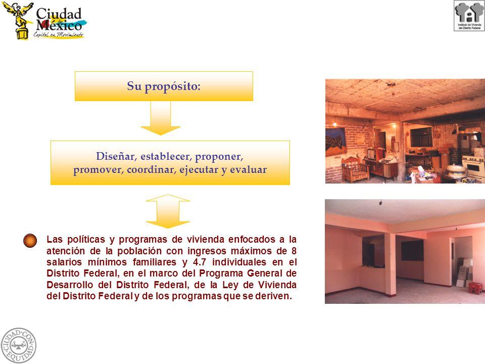 Su propósito: Diseñar, establecer, proponer, promover, coordinar, ejecutar y evaluar Las políticas y programas de vivienda enfocados a la atención de