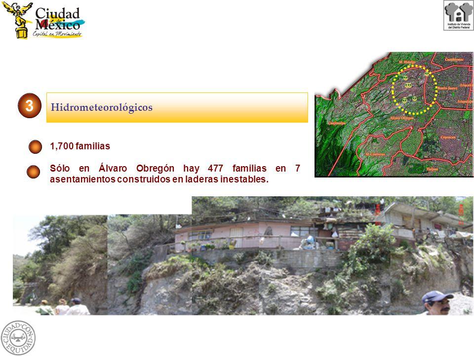 1,700 familias Sólo en Álvaro Obregón hay 477 familias en 7 asentamientos construidos en laderas inestables. 3 Hidrometeorológicos