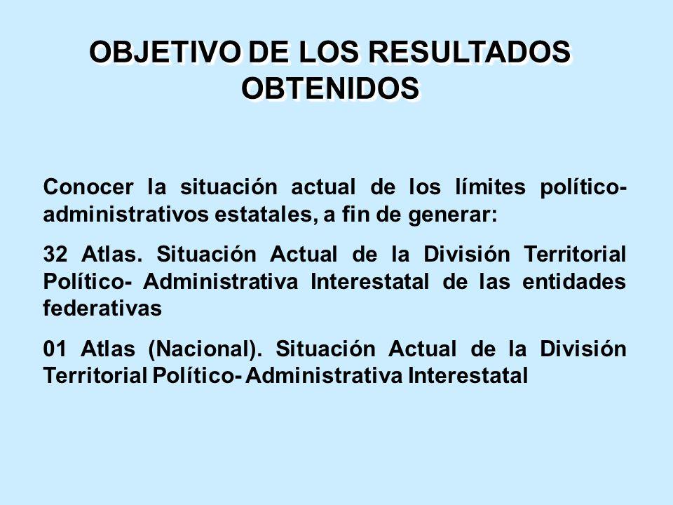 Conocer la situación actual de los límites político- administrativos estatales, a fin de generar: 32 Atlas. Situación Actual de la División Territoria