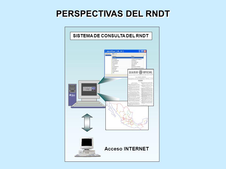 SISTEMA DE CONSULTA DEL RNDT Acceso INTERNET PERSPECTIVAS DEL RNDT
