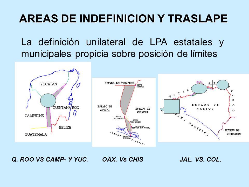 AREAS DE INDEFINICION Y TRASLAPE La definición unilateral de LPA estatales y municipales propicia sobre posición de límites Q.