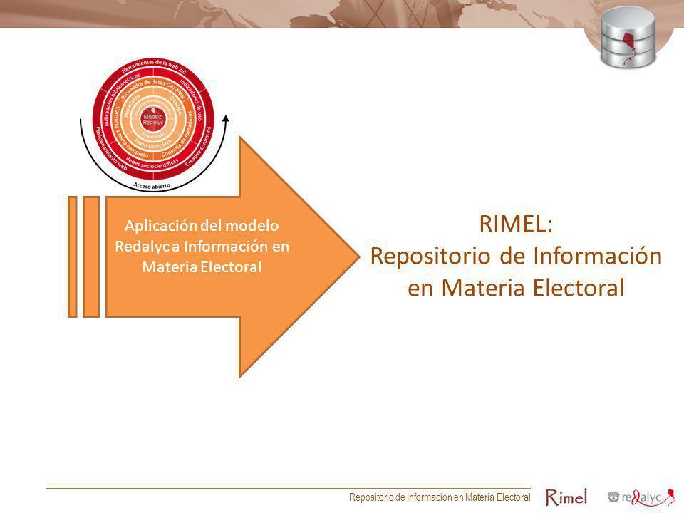 RIMEL: Repositorio de Información en Materia Electoral Aplicación del modelo Redalyc a Información en Materia Electoral Repositorio de Información en